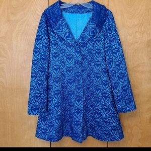 Blue button front swing jacket lace like detail